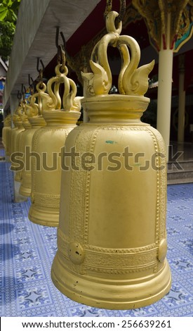 Gold bell at Wat Tonson on February 21,2015 in Angthong Thailand - stock photo