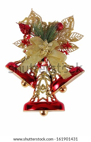 Gold bells with a red and gold bow. Isolated on white. - stock photo