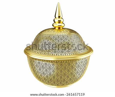Gold Benjarong porcelain on White background - stock photo