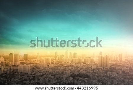 Gold big city concept. Aerial Amazing Beauty Light Hotel Resident Asia Market Town Glow Sun Hope Nature Industry Capital Backdrop Economy Horizon Night Research Meeting Old Yellow Green Blue Abstract. - stock photo