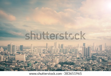 Gold big city concept. Aerial Light Hotel Residence Asia Town Glow Sun Hope Nature Brown Industry Sepia Capital Backdrop Economy Horizon Night Research Old History Retro Housing Urban Site Luxury. - stock photo