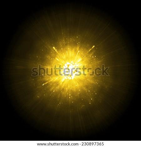 Gold big explosion  - stock photo