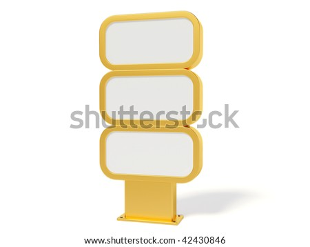 gold bilboard on white background - stock photo