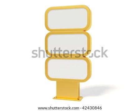 gold bilboard on white background - stock photo