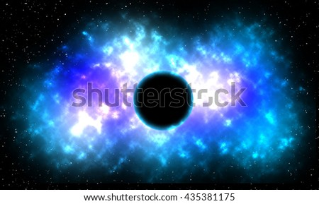 Gold & Blue Explosion in Deep Space. 3D illustration - stock photo