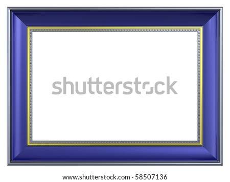 Gold-blue rectangular frame isolated on white background. Computer generated 3D photo rendering. - stock photo