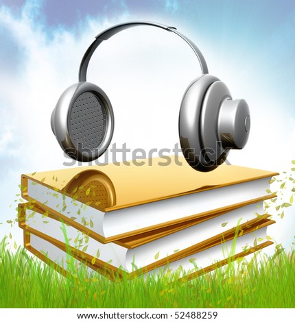 Gold books about composing music icon illustration - stock photo