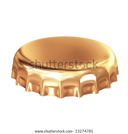 gold bottle cap isolated on white - stock photo