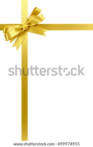 Gold bow gift ribbon vertical
