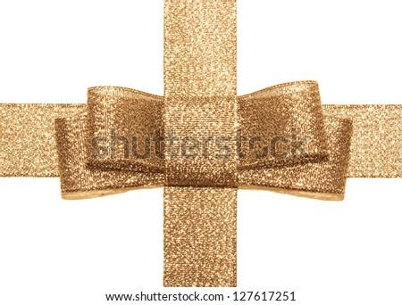 gold bow isolated on white background - stock photo