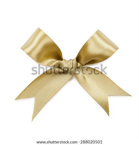 Gold bow isolated on white background. - stock photo