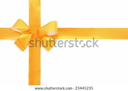 Gold bow isolated over white background