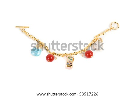 gold bracelet with pendent elements isolated on a white background