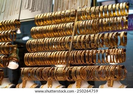 Gold bracelets - stock photo