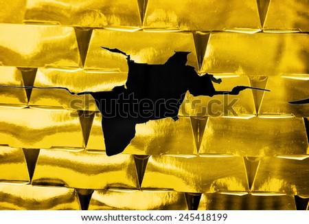 Gold bricks, financial risk, business  - stock photo