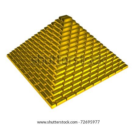 Gold bricks pyramid on white background - stock photo