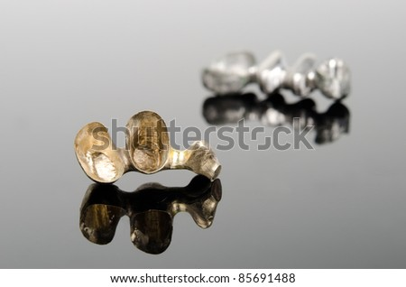 gold bridges, different alloys - stock photo