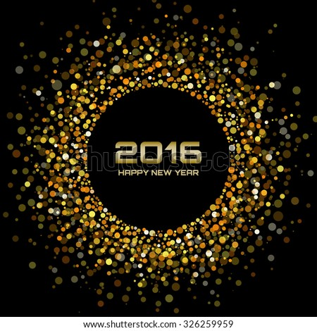 Gold Bright New Year 2016 Background - stock photo