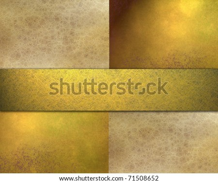 gold, brown, and beige background design layout, with soft grunge texture, golden lighting, ribbon stripe, and copy space - stock photo