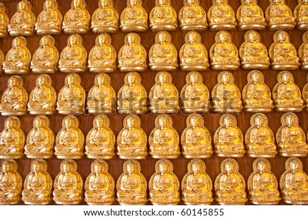 gold buddha doll on the hard wood.