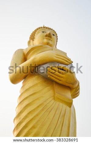 gold buddha statue in public Temple Thailand - stock photo