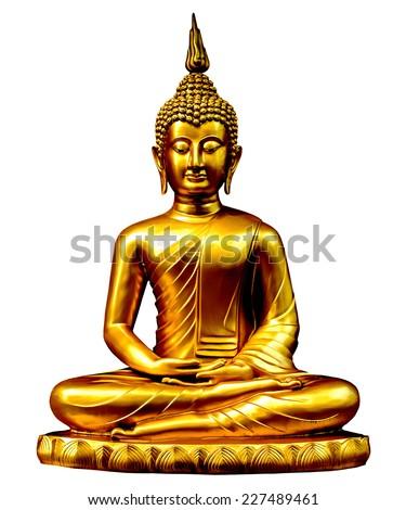 Gold buddha statue on white. - stock photo