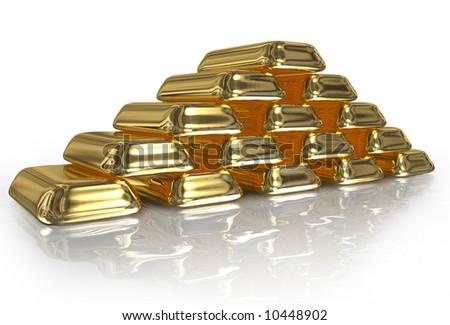 gold bullion - stock photo