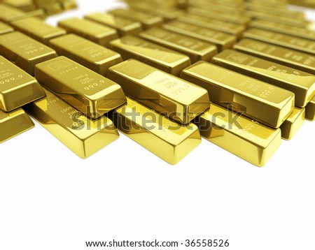gold bullion - stock photo