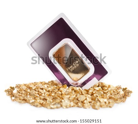 Gold bullion and heap of golden nuggets as symbol of safe investment, especially in times of economical crisis. - stock photo