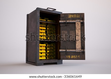 Gold bullion bars stacked tightly in an old safe with its door standing wide open in a conceptual image of finances and wealth - stock photo