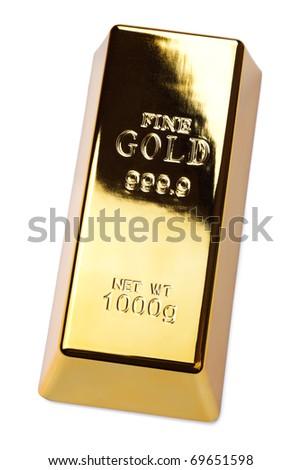 Gold bullion ingot isolated on white - stock photo