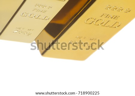 Gold bullion isolated on white background