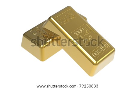 Gold bullion isolated on white 3d render - stock photo
