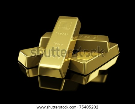 gold bullion on black background - stock photo