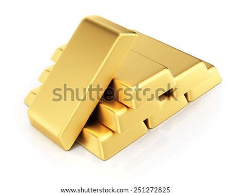 Gold bullions isolated on white background. 3d render - stock photo