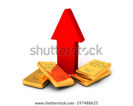 gold bullions price rising arrow grow up. business concept 3d render illustration - stock photo