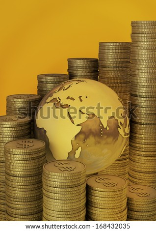 Gold business concept represented with golden globe and gold coins. - stock photo