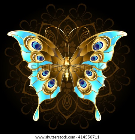 gold, butterfly jewelry, decorated with turquoise on a black background. Design with butterflies. Golden Butterfly. Bright butterfly  - stock photo