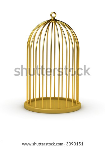 Gold cage (It is possible applying method of installation to insert into a cage something) - stock photo