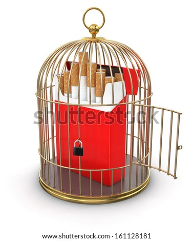 Gold Cage with Cigarette Pack (clipping path included) - stock photo