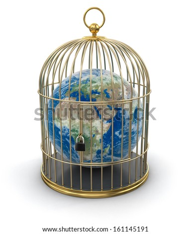 Gold Cage with Globe (clipping path included). Earth map provided by NASA - stock photo