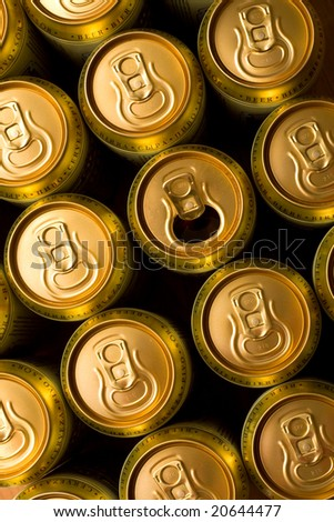 Gold cans of beer