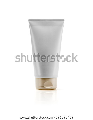 Gold cap and silver pearliest tube mockup template for cosmetic cream or gel, ready to design isolated on white background
