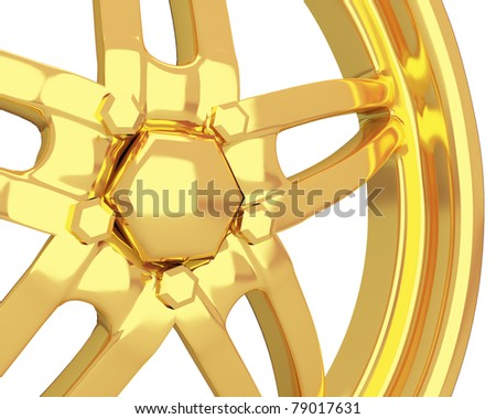 gold car disk isolated over white (closeup view) - stock photo