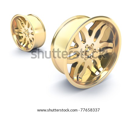 Gold car rims concept. Isolated on white - stock photo