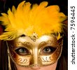 gold carnival mask - stock photo