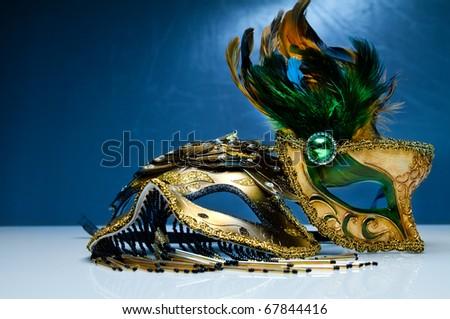 gold carnival venetian mask - stock photo