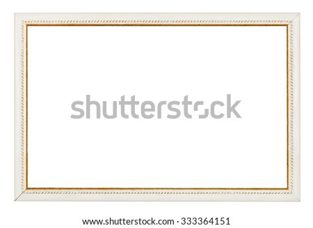 gold carved narrow white picture frame with cut out blank space isolated on white background - stock photo
