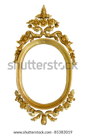 Gold carved oval wood frame isolated on white background