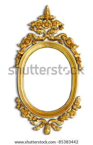 Gold carved oval wood frame on white background with shadow